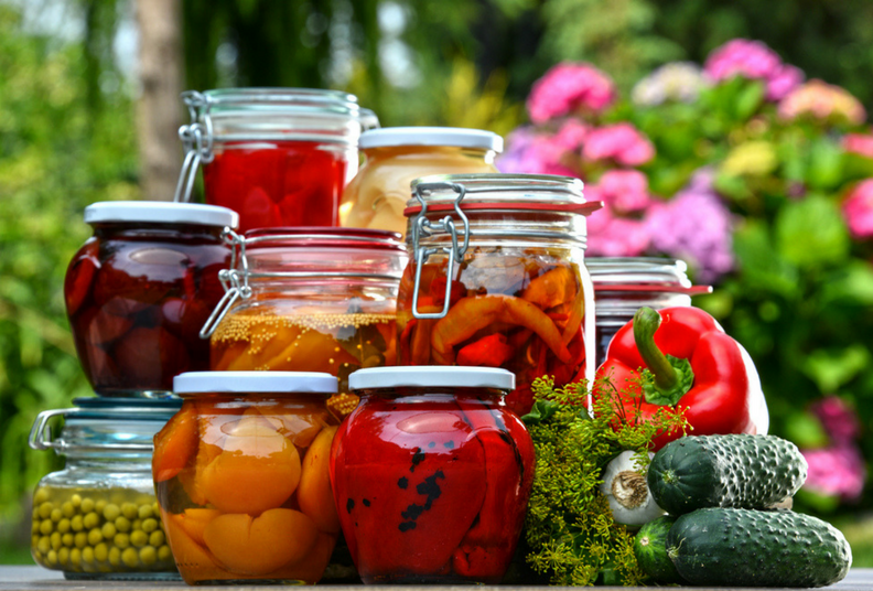 pickled jars of food from garden