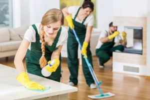 group of professional cleaners at work